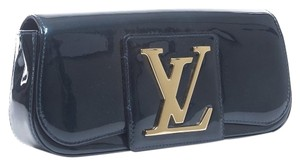 Louis Vuitton Patent Leather Golden Brass Blue Clutch