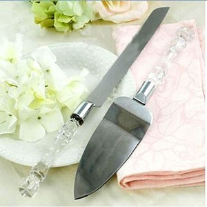 Wedding Cake Knife And Server Set With Faux Cyrstal Handle For Wedding Party