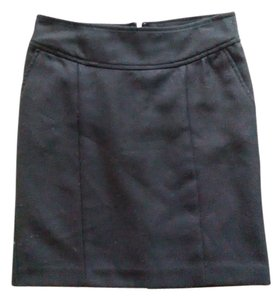 Banana Republic Gray Pencil Wool Skirt Black