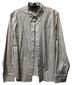 Jones New York Blouse Petite Dress Shirt Button Down Shirt Striped
