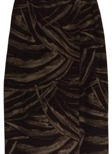 Jones New York Maxi Skirt Black w/ brown/taupe design