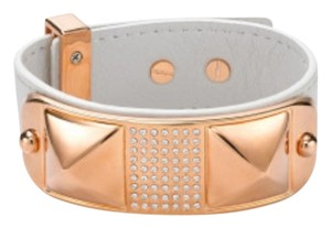 Rebecca Minkoff Rebecca Minkoff Rose Gold Small Studded Pave Leather Bracelet in Cream