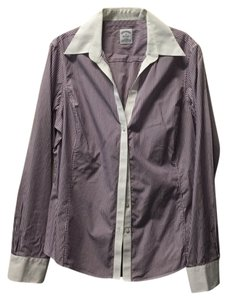Brooks Brothers Blouse Dress Shirt Fitted Work Cotton Button Down Shirt Plum Striped