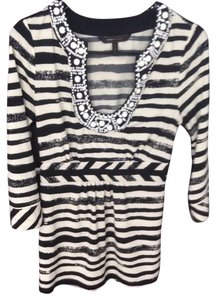 BCBGMAXAZRIA Stripes Black And White Chalk Beads Beaded Casual Three Quarter Striped Tunic