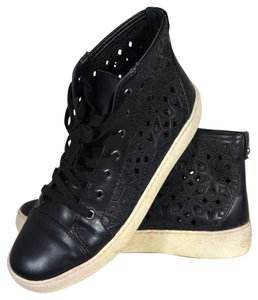 Sam Edelman Distressed Tennis Shoe Black Athletic