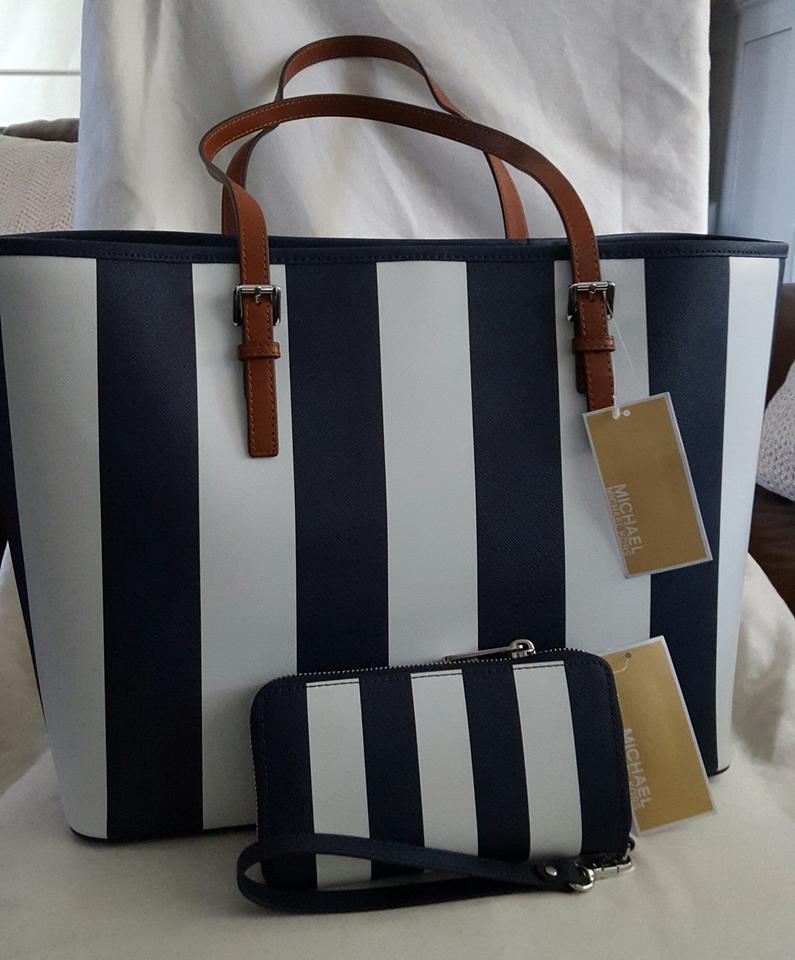 Michael Kors Jet Set Travel And Wallet Navy Blue White Saffiano Leather Tote Tradesy