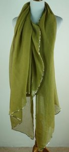 Other Merci-merci Rectangular Scarf Green Metallic Gold X 78