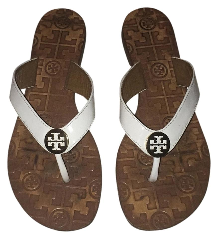Tory Burch White and and White Tan Sandals 743692