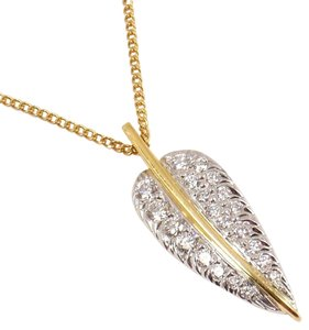 Tiffany & Co. Authentic Tiffany & Co Angela Cummings Platinum Pave Diamond Feather Leaf Pendant Necklace