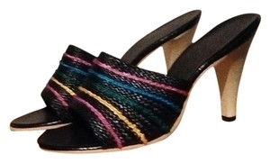 Other Stripe Straw Colorful Black/Multi Colored Sandals