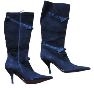 Nina Shoes Heels Leather Black Genuine Suede Boots