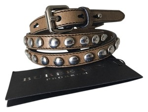 Burberry BURBERRY Somerley Brown Leather Silver Studded Authentic Belt
