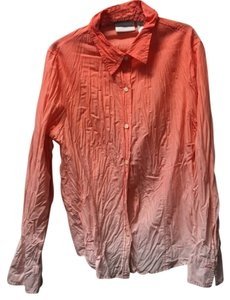 Liz Claiborne Crinkle Shirt Button Up Casual Top Orange