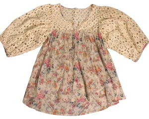 Anthropologie Vintage Eyelet Lace Top Cream
