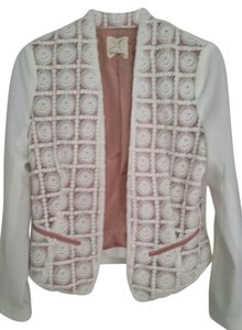 Pins and Needles Embroidered Silk Jacket White Blazer