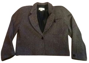Dior Christian Houndsooth Crop Jacket Gray Blazer