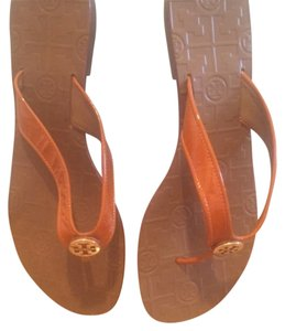 Tory Burch Tangerine patent Sandals