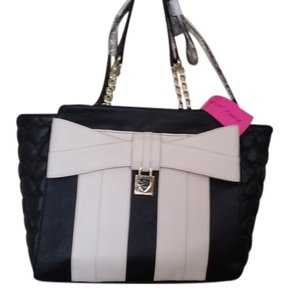 Betsey Johnson Bow Lock Tote Satchel in Black and Ivory