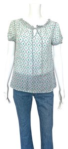Gap Diamond Print Smock Top Gray