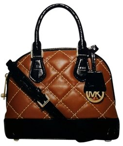Michael Kors Satchel in Walnut quilted leather & Black croc Embossed leather Trim