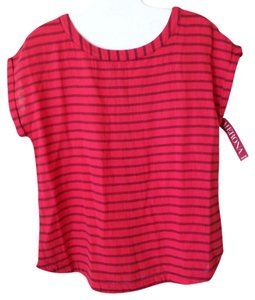 Merona Top Red & Navy Stripe