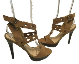 Wild Pair T Strap Stilettos Platform Brown leather Sandals