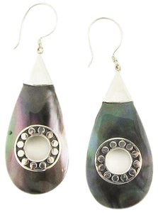 Island Silversmith Island Silversmith Black Mother of Pearl 925 Sterling Silver Earring 0301M *FREE SHIPPING*