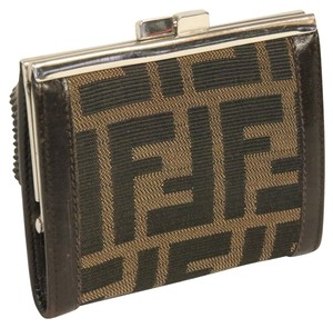Fendi Fendi Zucchino Tobacco Zucca Canvas Jacquard and Leather Wallet