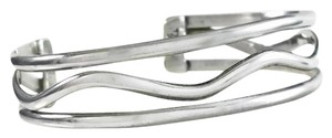 Other Taxco Sterling Three Band Wave Cuff Bracelet