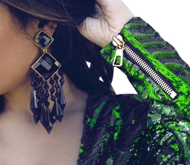 Item - Green Limited Edition Collection Rhinestone Earrings