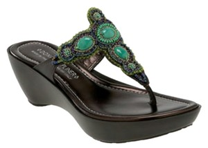 Donald J. Pliner Cece Beaded Dark brown with green turquoise stones Sandals