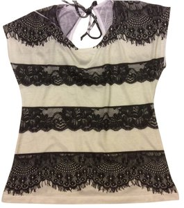 Charlotte Russe Lace Date Night Keyhole Top Black and off white