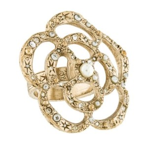 Chanel Chanel Gold And Faux Pearl Flower Cocktail Ring Size 6