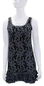 Aqua short dress Gray|Black Cocktail Floral Sleeveless Cotton on Tradesy