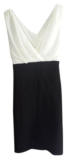 BSB Peep Hole Back Crisscross Strap Slim Fit Girls Night Out Black And Ivory European Style Dress chic