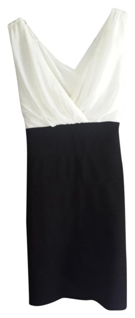 BSB Peep Hole Back Crisscross Strap Slim Fit Girls Night Out Black And Ivory European Style Dress