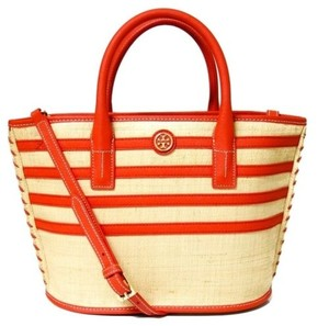 Tory Burch Natural Red Stripe Straw Mini Tote in Multi-Color