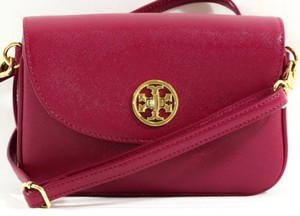 Tory Burch Robinson Clutch Raspberry Cross Body Bag