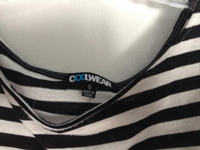 Coolwear Striped Rouching Asymmetrical T Shirt Black, White