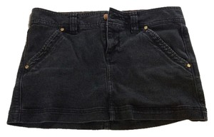 Express Denim Mini Distressed Mini Skirt Black