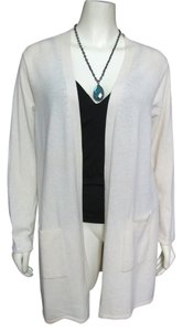 Bloomingdale's 100% Cashmere 1x Creme Shirt Open 20 Sweater Off White Cardigan