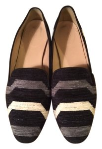 J.Crew black with grey & white stripes Flats