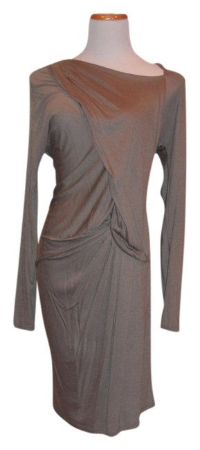 Item - Gray Fab Ladies Draped Stylish Perfect Comfortable Fabric Above Knee Cocktail Dress Size 6 (S)