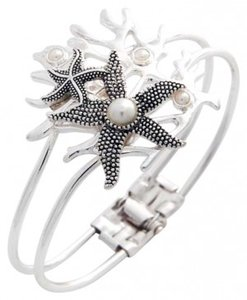 Other New Silvertone Starfish Foldover Bracelet