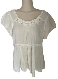 Anthropologie Boho Peasant Top cream