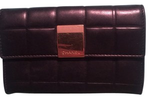 Chanel Chanel Chocolate-Bar Black Leather Wallet with Coin Purse