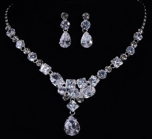 Diamond Necklace And Earring Women Jewelry Set Bridal Wedding