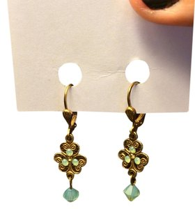 Petite Goldtone/Aqua Dangle Earrings