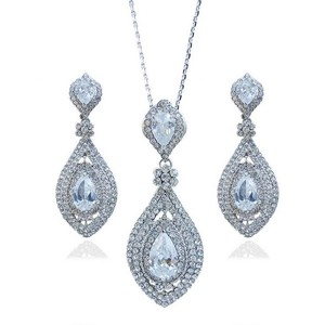 Necklace Earring Set Clear Cz Zircon Rhinestone Crystal