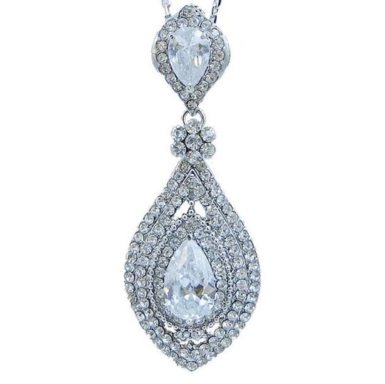 Necklace Earring Clear Cz Zircon Rhinestone Crystal Jewelry Set